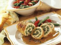 Turkey Roulades with Green Bean and Tomato Salad recipe