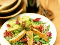 Turkey Strips with Mixed Green Salad recipe
