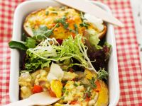 Jacket Potatoes with Egg and Leaves recipe