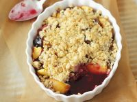 Two Fruit Pudding with Crumble Topping recipe
