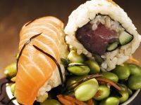 Two Kinds of Sushi on Edamame Salad recipe