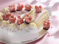 Vanilla Cake with White Chocolate Mousse and Marzipan Pigs recipe