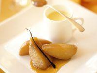 Vanilla Pears with Apricot Sauce recipe
