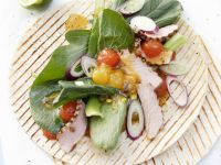Veal, Mustard Spinach and Melon Chutney Wraps