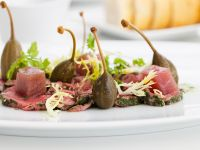 Veal Carpaccio with Tuna and Caperberries recipe