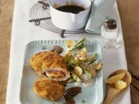 Veal Cordon Bleu with Mushroom and Scallions recipe