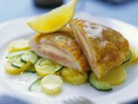 Veal Cordon Bleu with Potato Cucumber Salad recipe