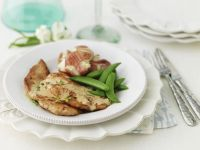Veal Cutlets with Potatoes and Snow Peas recipe