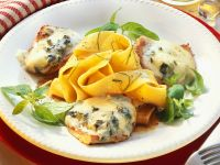 Veal Escalope with Gorgonzola Cream Sauce and Pasta recipe