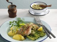 Veal Medallions with Green Asparagus, Potatoes and Herb Butter recipe