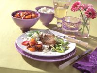 Veal Steak with Apricot Chutney and Broad Beans recipe