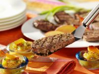 Veal Steaks with Peach Chutney recipe