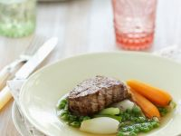 Veal Steaks with Spring Vegetables recipe