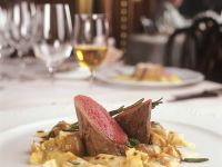 Veal Tenderloin with Pasta and Onions recipe