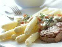 Veal with White Asparagus and Tomato and Chives Hollandaise Sauce recipe