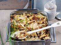 Vegan Pasta Gratin with Pear and Radicchio recipe