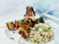 Vegetable and Sausage Skewers with Rice recipe