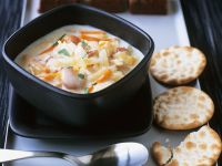 Vegetable Cream Soup with Scallops recipe