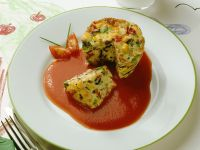 Vegetable Flan with Tomato Sauce recipe