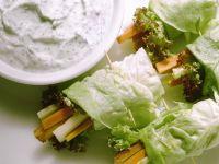Vegetable Lettuce Rolls with Yogurt Dip recipe