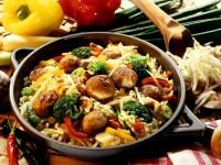 Vegetable Pan with Rice and Meatballs recipe