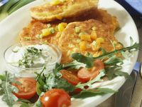 Vegetable Pancakes with Herbed Quark Topping