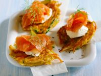 Vegetable Pancakes with Smoked Salmon and Sour Cream recipe