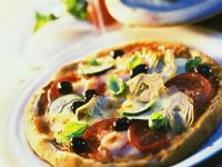 Vegetable Pizza with Artichokes, Tomatoes and Zucchini recipe