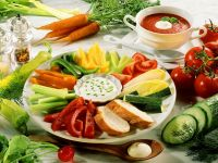 Vegetable Platter with Dip and Tomato Soup recipe