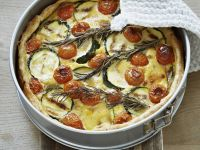 Vegetable Quiche with Mushrooms, Zucchini and Cherry Tomatoes
