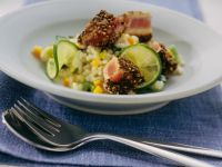 Vegetable Risotto with Coriander and Pepper Crusted Tuna recipe