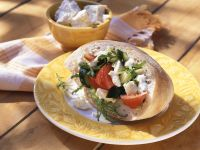 Vegetable Salad with Cheese in Pita Bread recipe