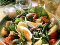 Vegetable Salad with Egg, Salami and Tuna recipe