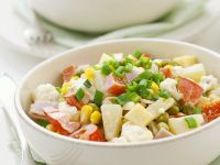 Vegetable Salad with Ham, Cheese and Fruit recipe