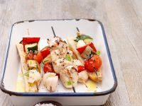 Vegetable Skewers with Grilled Chicken recipe