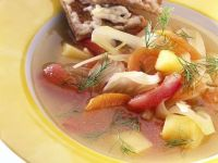 Vegetable Soup with Cheesy Toast recipe