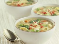Vegetable Soup with Chicken, Tortellini and Parmesan recipe