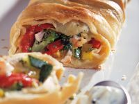 Vegetable Strudel with Herb Cream Cheese Dip recipe