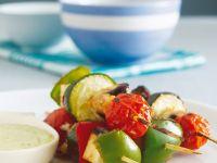 Vegetable Skewers with Bean Puree recipe