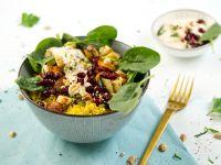 Vegetable Turmeric Quinoa Bowl with Peanut Dip recipe