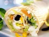 Wrap with Vegetables, Cottage Cheese and Pumpkin Seeds recipe