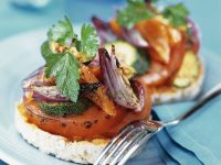Vegetables on Toasted Muffins recipe