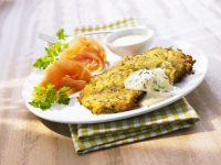 Vegetables Pancakes with Smoked Salmon and Yogurt Sauce recipe