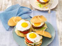 Vegetarian Burgers with Fried Eggs recipe