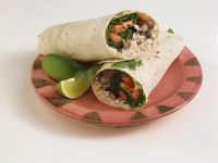 Veggie Wrap with Tomato, Rice and Beans recipe