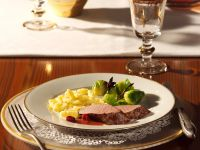 Venison Fillet with Cassis Cranberry Sauce and Brussels Sprouts recipe