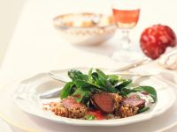 Venison Fillet with Walnut Crust and Corn Salad recipe