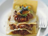 Venison Lasagna with Sprouts and Pumpkin