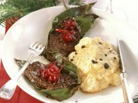 Venison Medallions with Cranberries and Mashed Potatoes with Truffles recipe