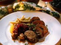 Venison Roulade with Glazed Chestnuts and Cabbage recipe